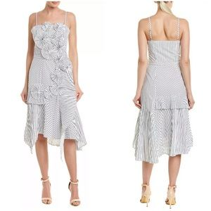 Joie 6 White Navy Stripe Edelle Midi Dress